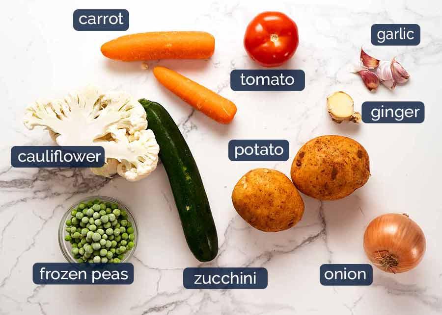 Vegetables used in Vegetable Samosa Pie