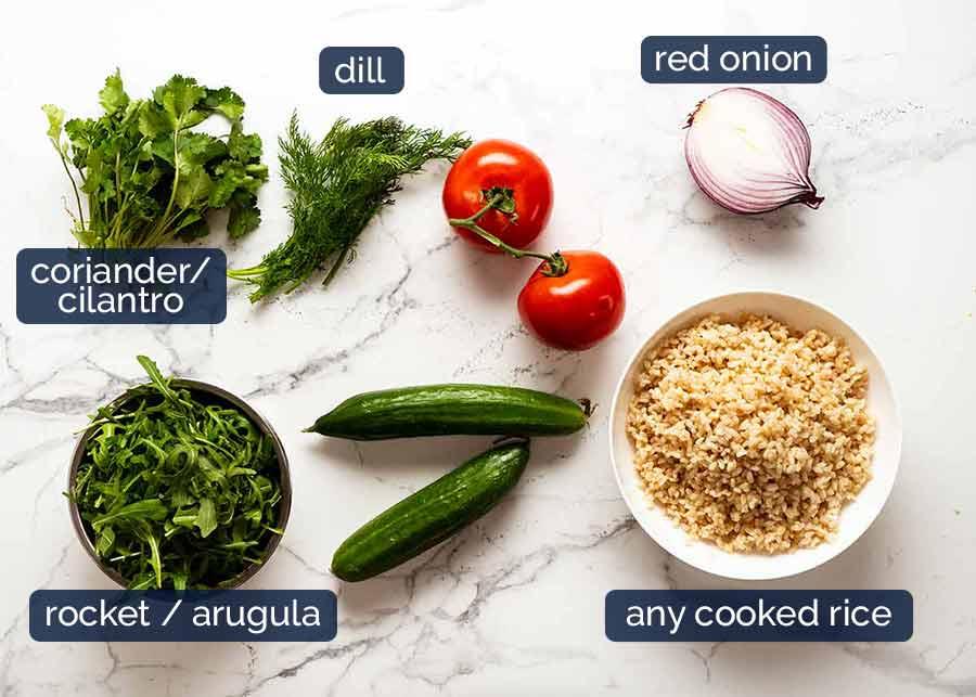 Ingredients in Mediterranean Brown Rice Salad
