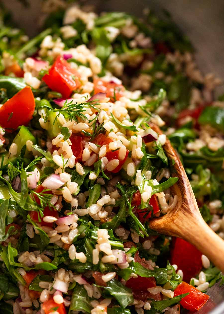 Close up of Brown Rice Salad ready to be served