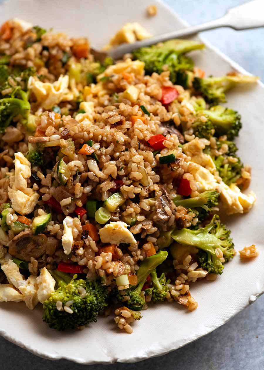 Plate of Fried Rice made with brown rice
