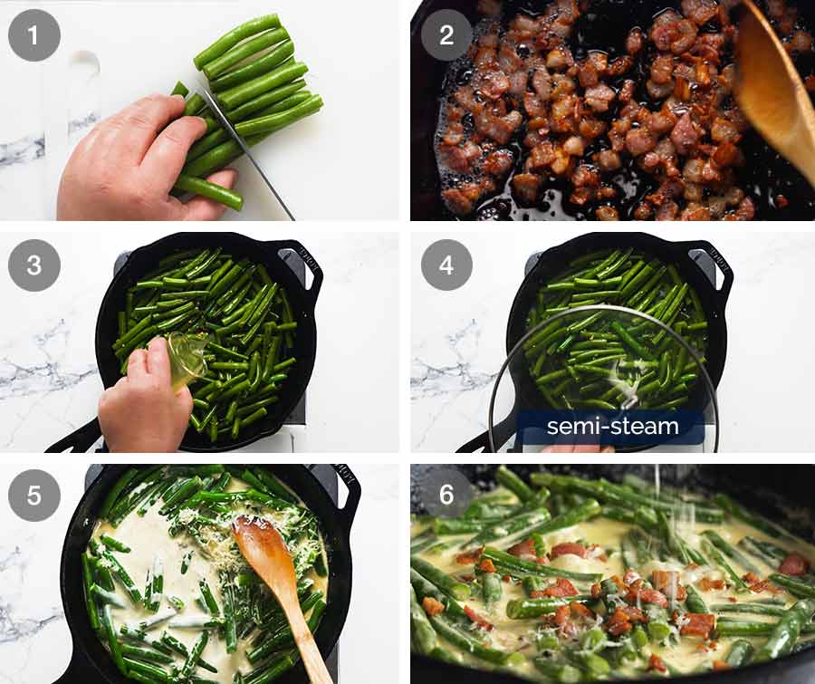 How to make Green beans in creamy parmesan sauce with bacon