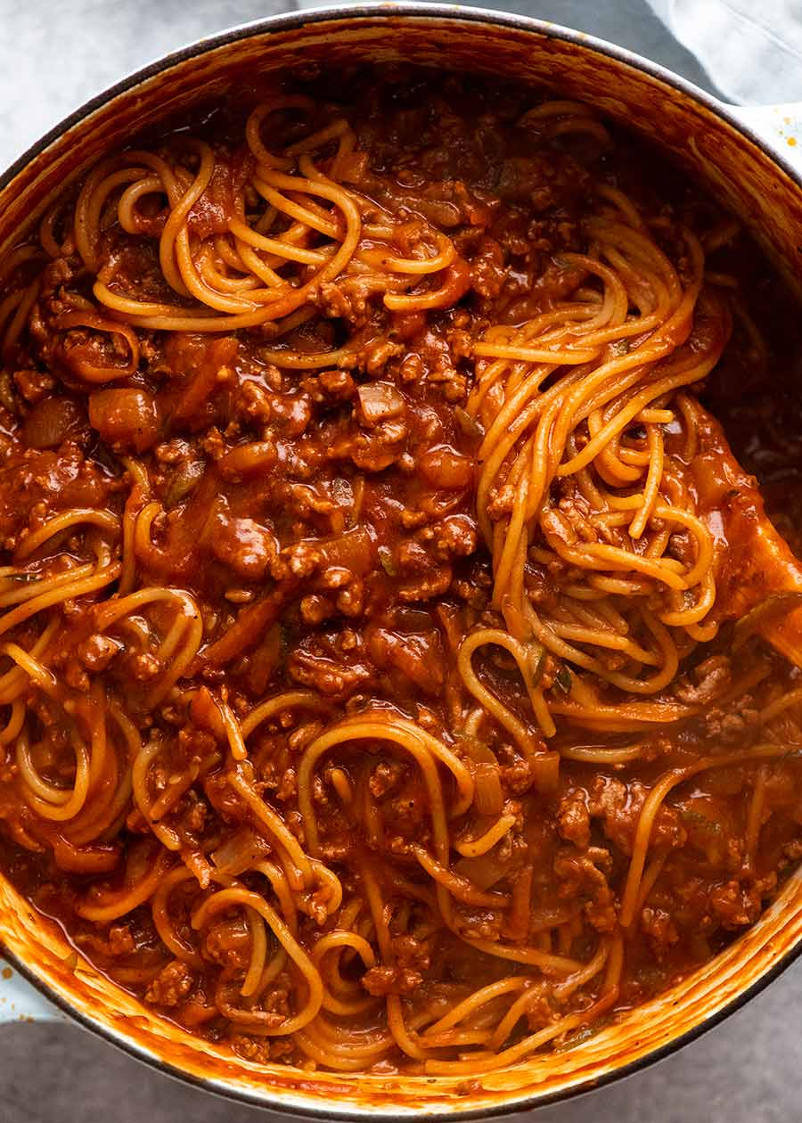 Pot of One Pot Pasta Bolognese, fresh off the stove