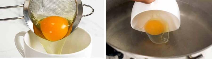 Put eggs in teacup for easy handling