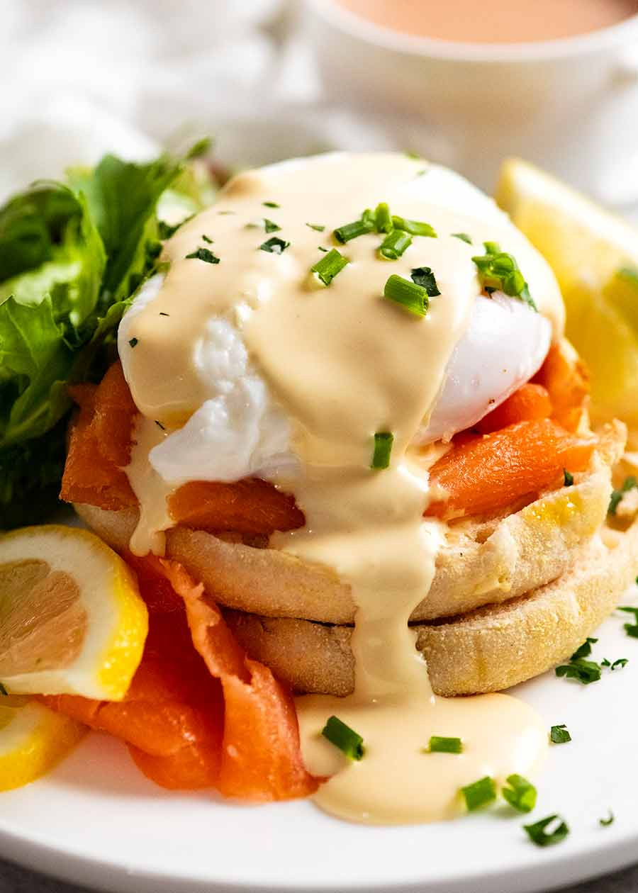Smoked salmon Eggs Benedict on a plate, ready to be served