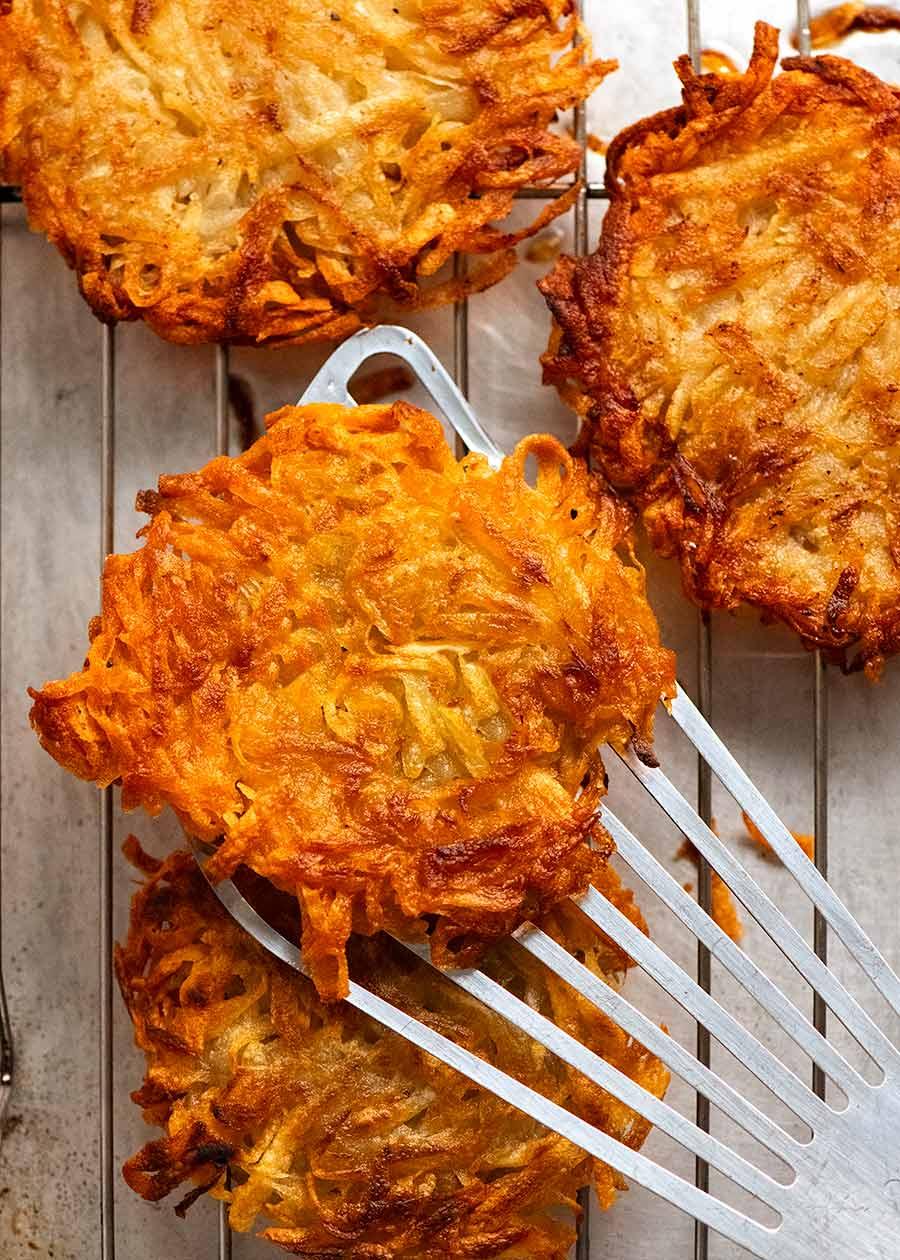 Overhead photo of freshly cooked Potato rosti