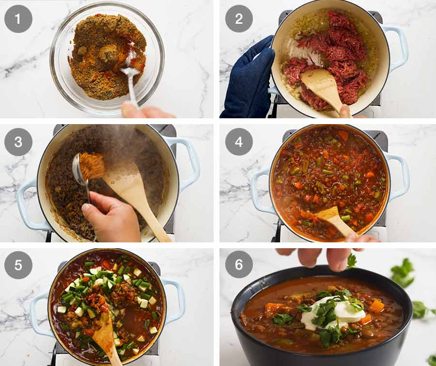 How to make Beef and Lentil Soup - with ground beef / beef mince