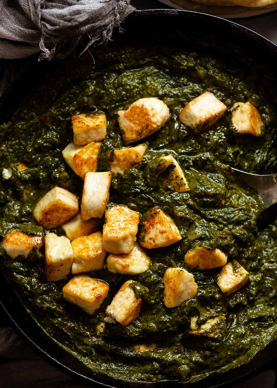 Freshly cooked Palak Paneer in a skillet, ready to be served