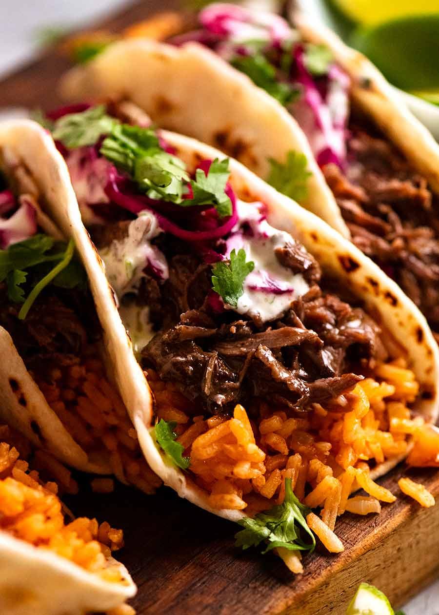 Close up of Beef Barbacoa Taco