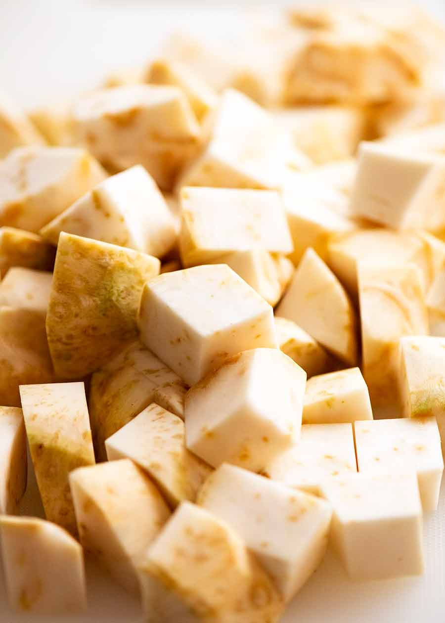 Close up of a pile of chopped Celeriac