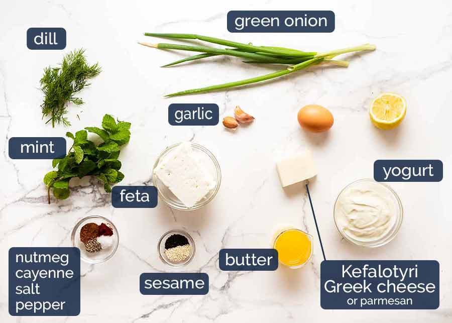 Ingredients in Spanakopita