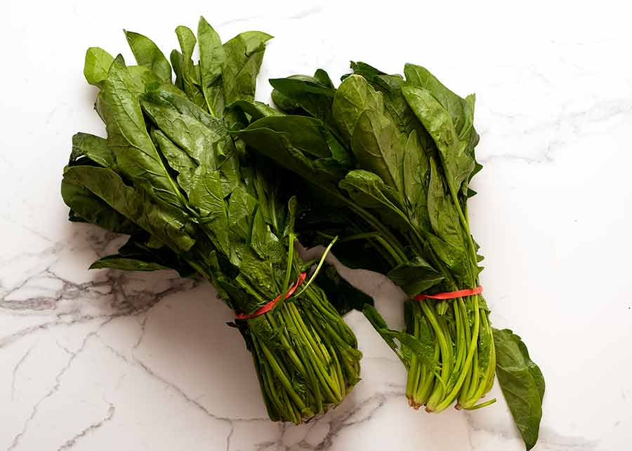 Two big bunches of English spinach for Spanakopita