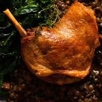 Duck Confit on a bed of French lentils