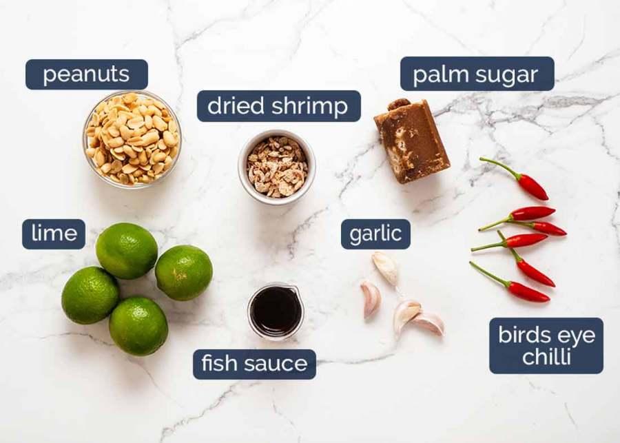 Ingredients in Green Papaya Salad (Thai)