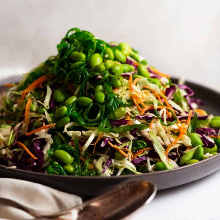 Japanese Slaw - Chargrill Charlie's Copycat piled up on a plate, ready to be eaten