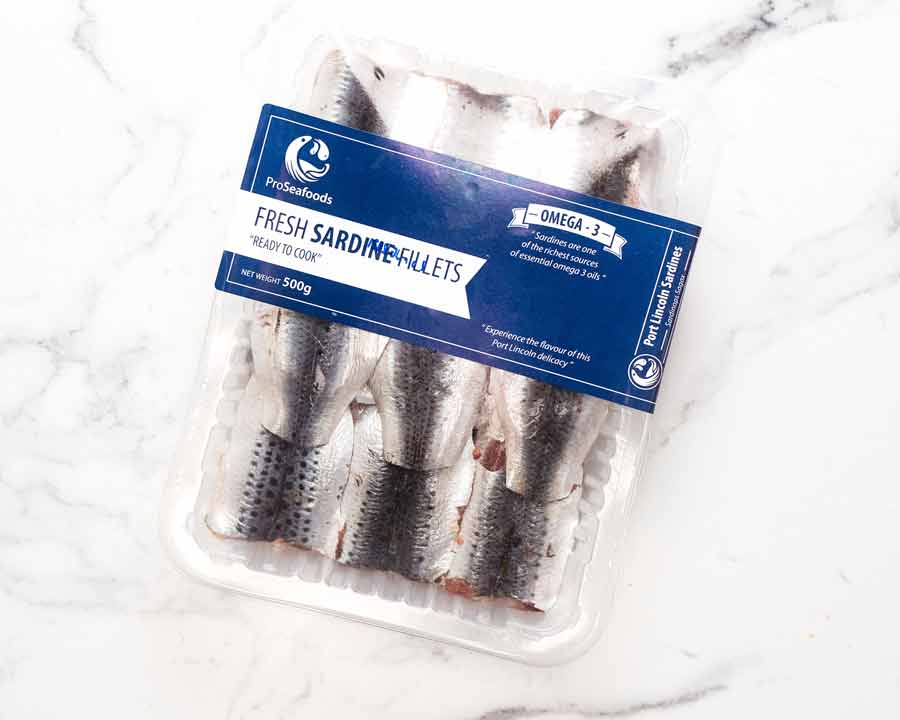 Packet or fresh filleted sardines, ready to be eaten