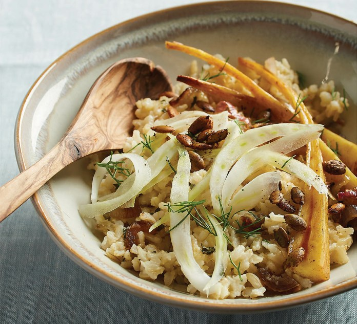 BROWN RICE BOWL WITH MAPLE-ROASTED PARSNIPS, FENNEL, DATES,