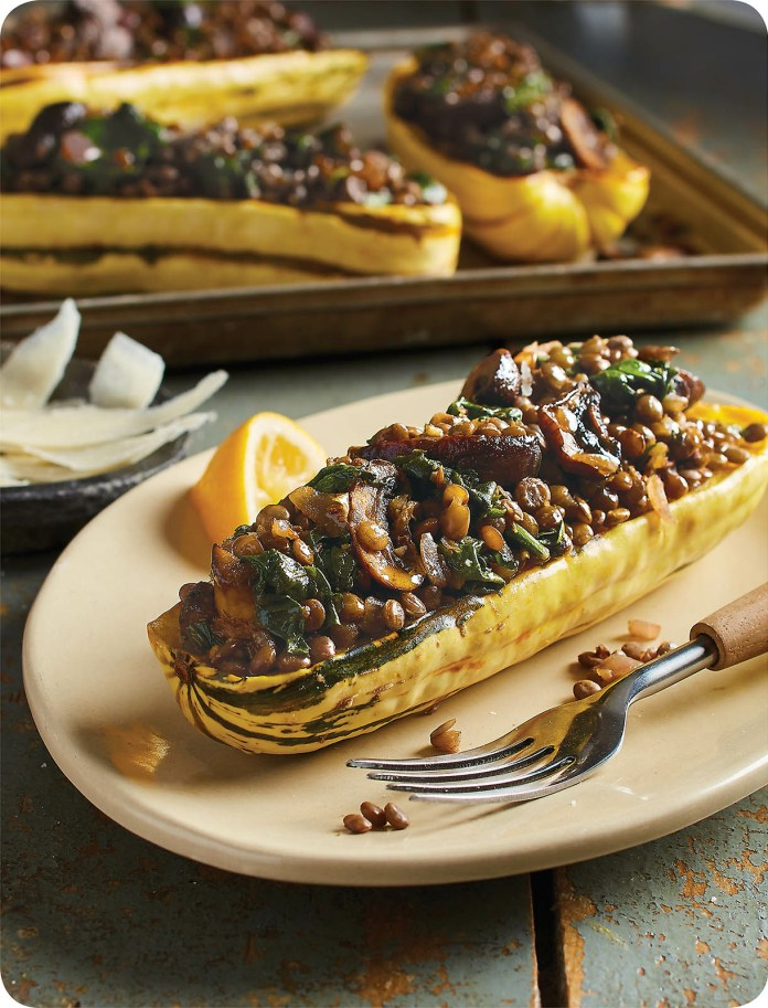 LENTIL- AND SPINACH-STUFFED SQUASH HALVES