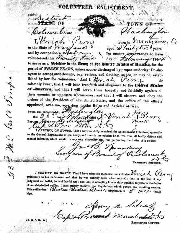 U.S. Colored Troop Uriah Perry declaration