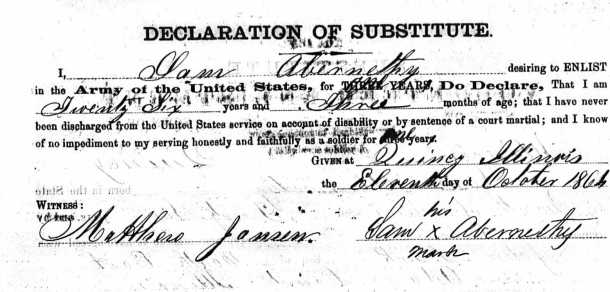 U.S. Colored Troop Sam Abernathy Enlistment