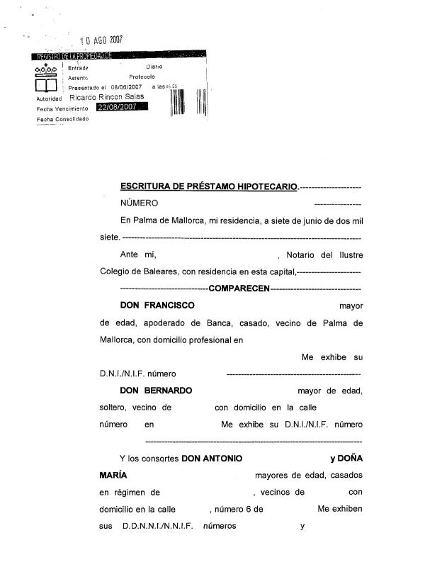 ejemplo de portada de escritura de préstamo hipotecario en gastos de formalización de hipoteca. foto de reclamador.es, compañía de reclamaciones online
