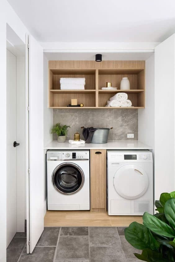 How To Organise a Small Washing Machine Yard Area ... on Small Space Small Bathroom Ideas With Washing Machine id=29465