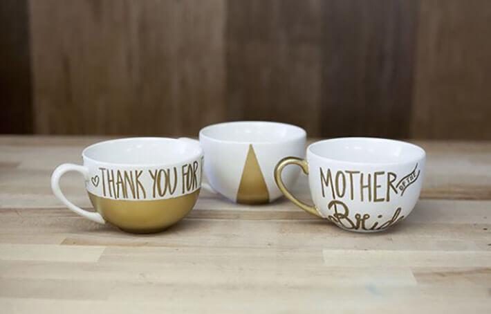 DIY - Hand Painted Gold Mugs