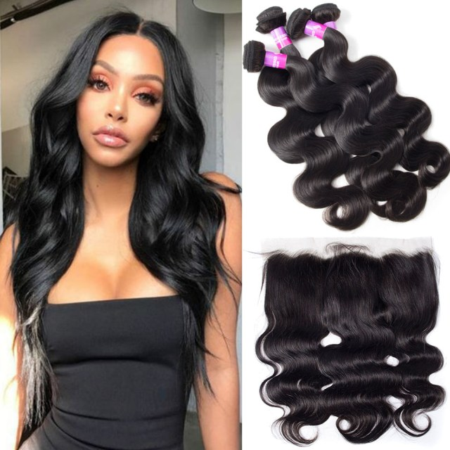 recool hair lace frontal closure with bundles brazilian body wave hair 4 bundles with frontal 10a virgin human hair