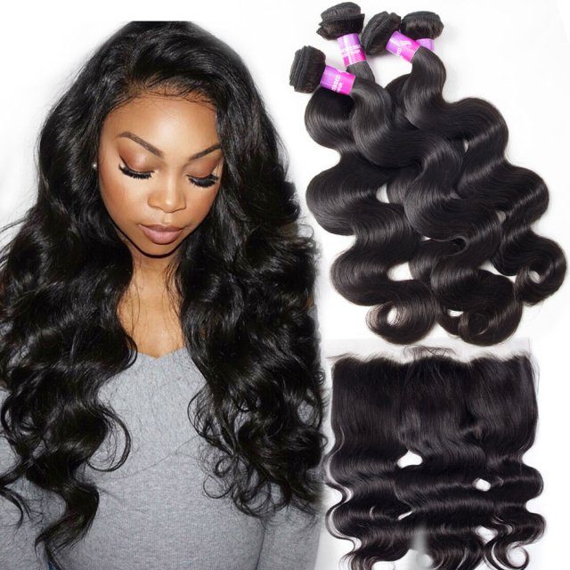 recool hair lace frontal closure with bundles malaysian body wave hair 4 bundles with frontal 10a virgin human hair