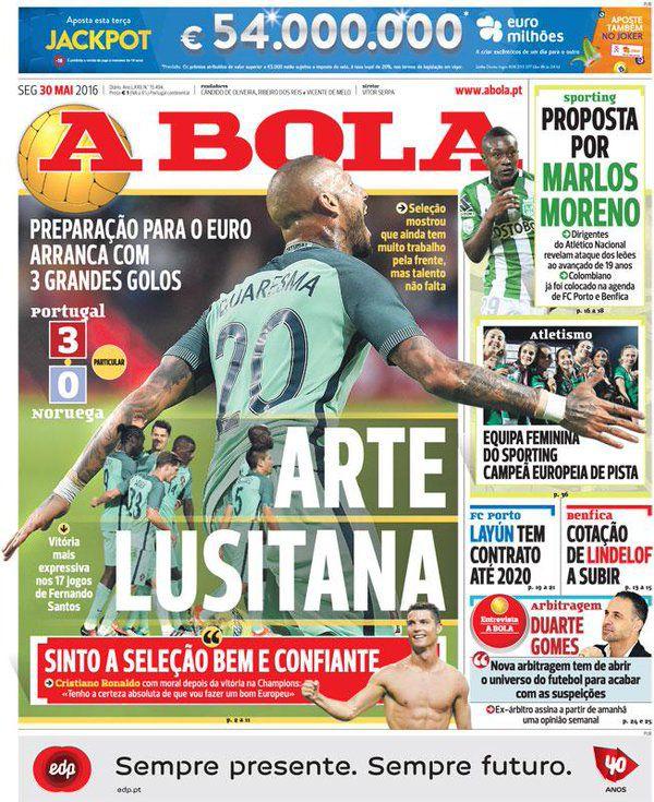 La portada del diario A Bola en donde anuncia la continuidad de Layún