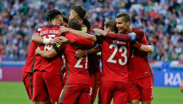 Portugal celebra el gol de Cedric