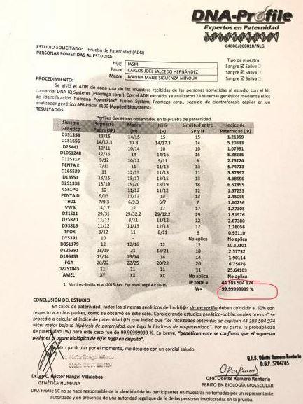 Este es el perfil de ADN practicado a Carlos Salcedo