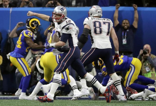 Tom Brady lanza un grito en el Super Bowl LIII