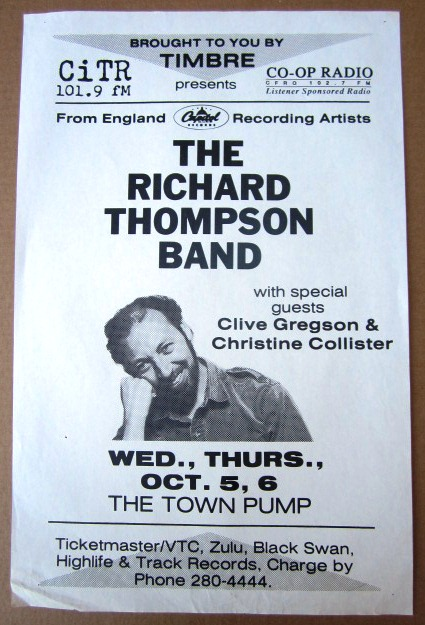 THOMPSON, RICHARD Concert GIG Tour Poster Vancouver, Canada ORIGINAL