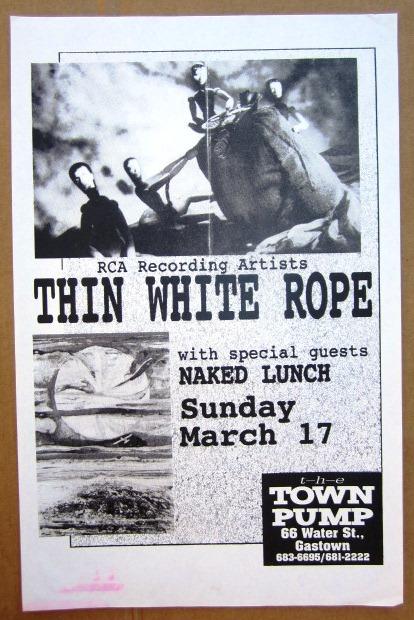 THIN WHITE ROPE Concert GIG Tour Poster Vancouver, Canada ORIGINAL