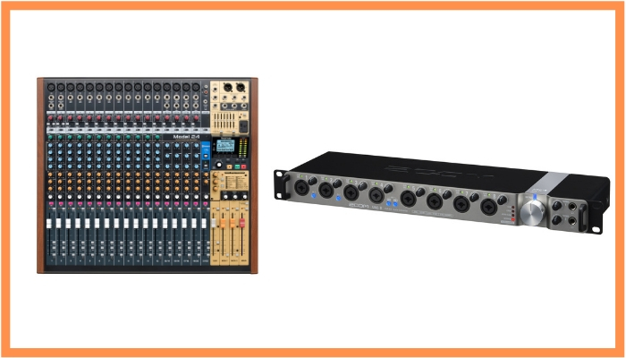 mixing console vs audio interface