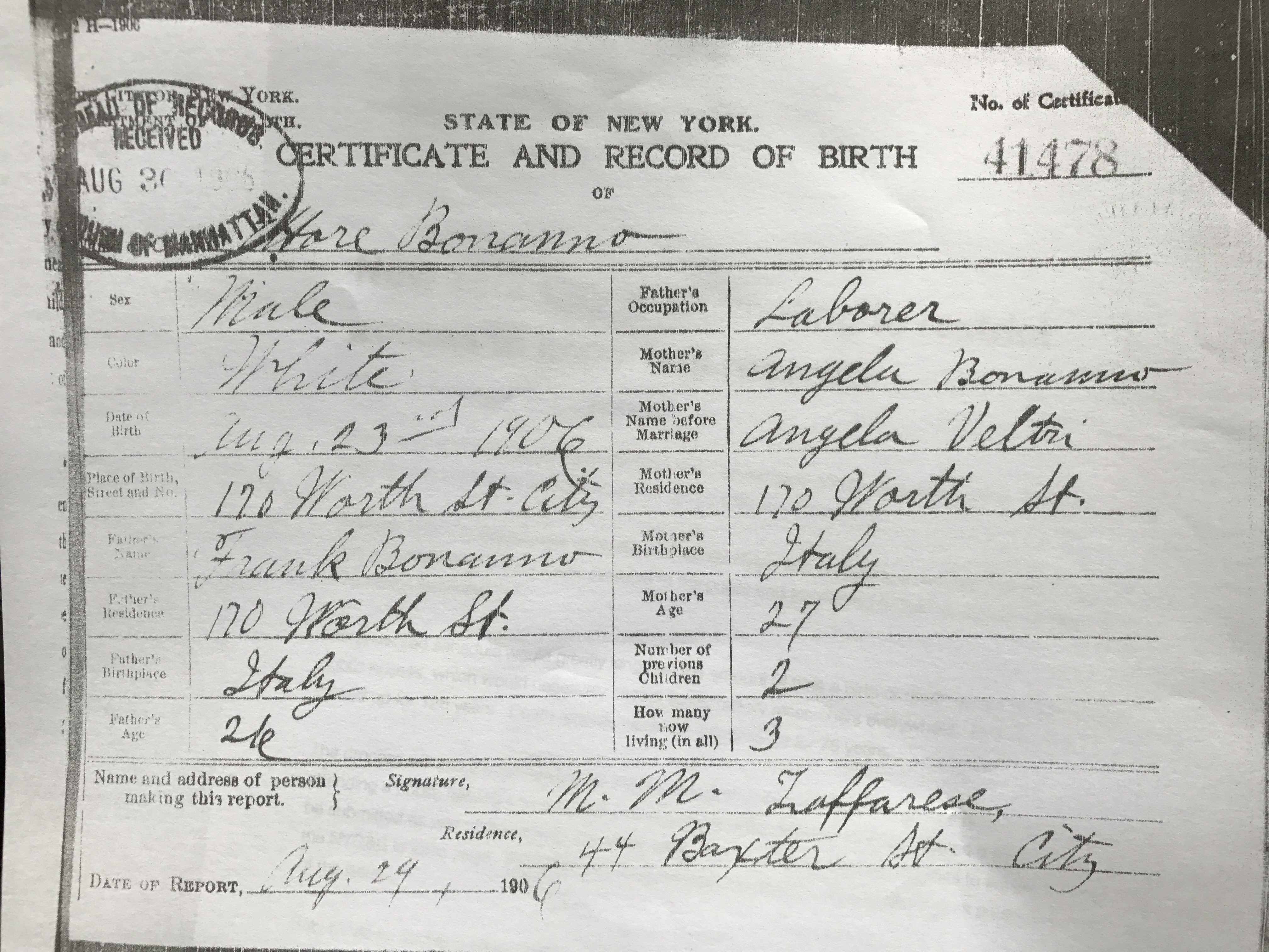 New York Department Of Vital Statistics Birth Certificate Birth