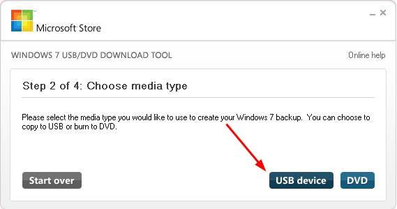 USB-apparaatselectie Windows 7 USB / DVD