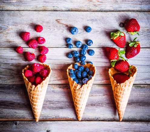 3 ice cream cones filled with fruit - used in article Recovery Warriors - Lauren Fowler