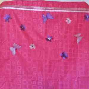 adding butterflies and flowers to some stock curtains