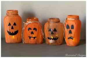 orange painted halloween jars