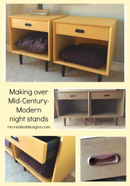 Making over Mid-Century-Modern night stands with Annie Sloan Paint in Arles and General Finishes Java Gel Stain