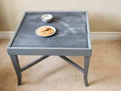 f4614650cb5e Square vintage table painted grey with a chalkboard on top