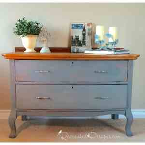 a Queen Anne dresser updated with Miss Mustard Seed Milk Paint in Bergere