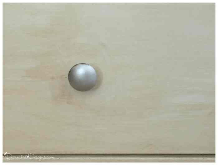 Furniture knob finished with Silver Rub n Buff