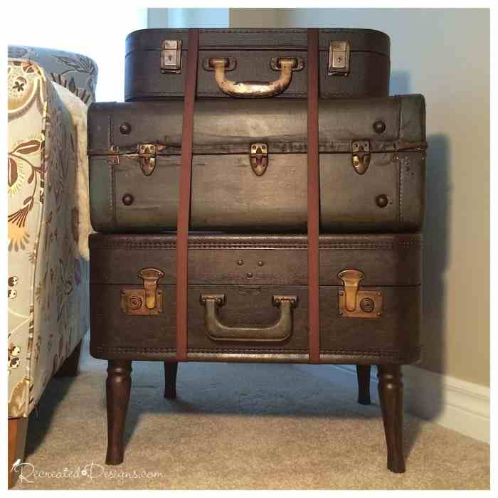 Vintage suitcase side table recreated designs - Vintage suitcase ...
