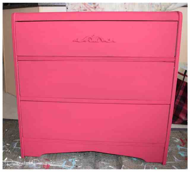 a vintage dresser painted in Decoart Chalk Finish Paint in Romance