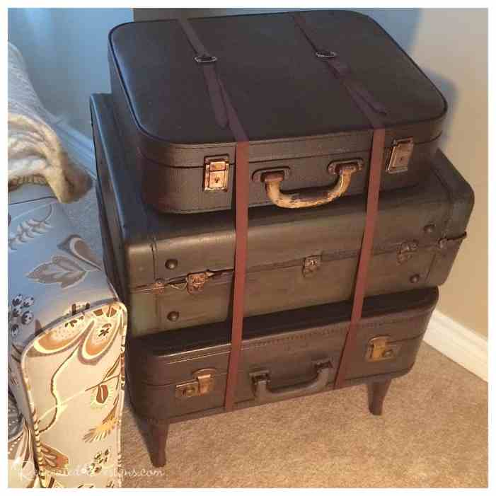 vintage suitcases stained with General Finishes Java Gel Stain