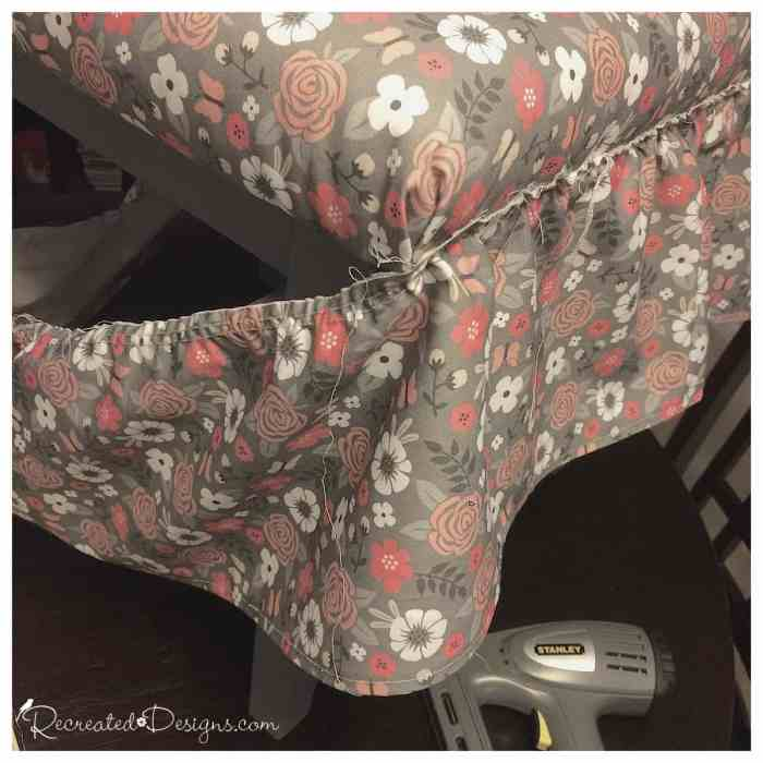 attaching a fabric skirt to a covered bench