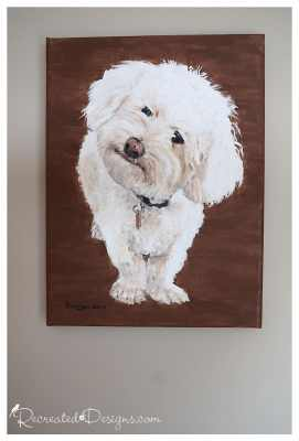 canvas painting of Mugsy the dog