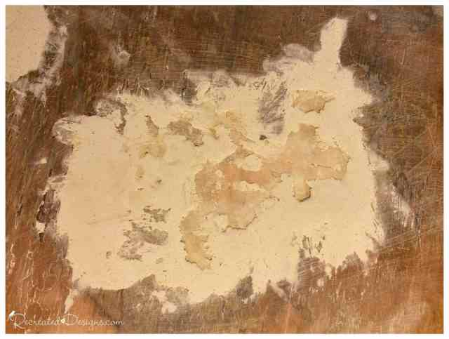 repairing missing veneer with wood filler
